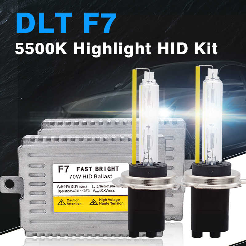 SKYJOYCE 12V 70W HID Kit DLT F7 70W Quick Start HID Ballast 5500K Fast Bright HID Bulb H1 H3 H7 H8 H9 H11 9005 9006 D2H 9012
