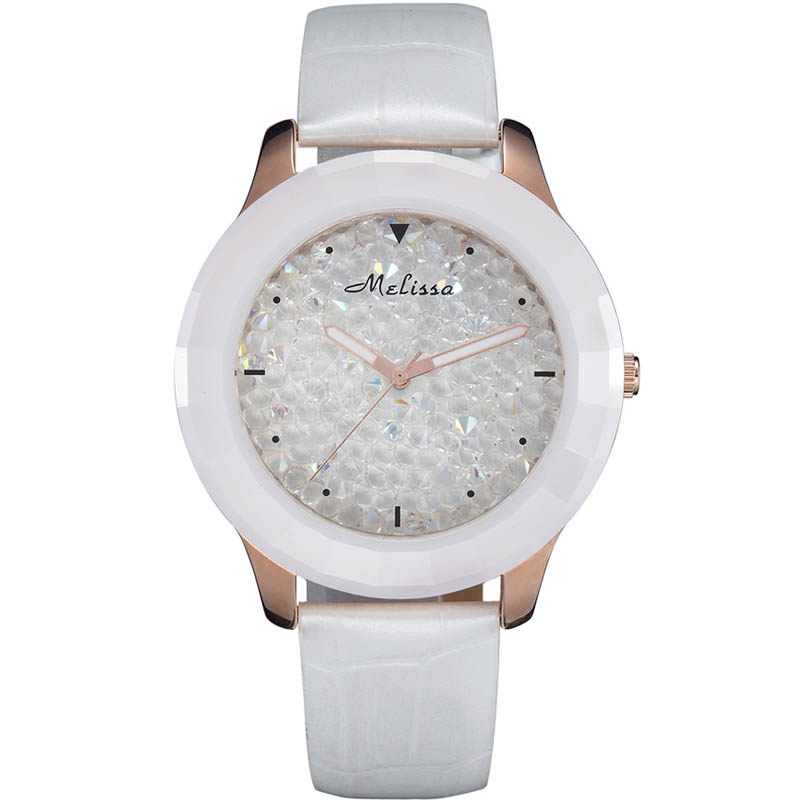 Melissa Crystal Lady Women's Watch Japan Quartz Ceramics Hour Fashion Leather Bracelet Girl Luxury Rhinestones Birthday Gift fashion modern silver crystal flower quartz pocket watch necklace pendant women lady girl birthday gift relogio de bolso antigo