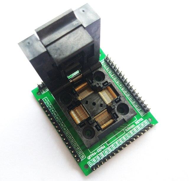 TQFP64 LQFP64 QFP64 socket adaptateur programmeur IC puce test seat STM32 FPQ 64 0.5 06 QFP64 blocs de gravure 0.5m