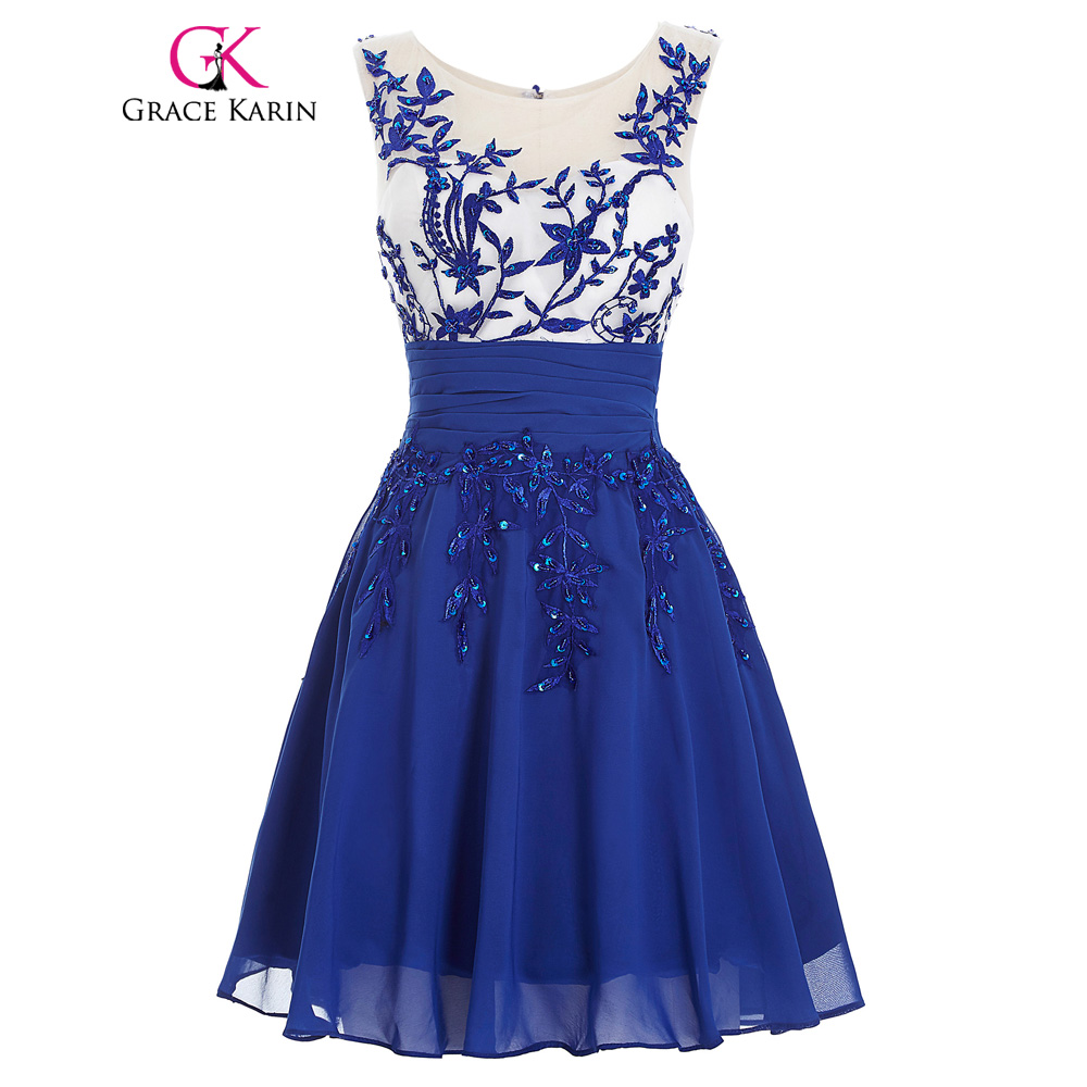 23ea8a1e8f Grace Karin Mini Short Prom Dress 2018 Blue Robe De Soiree Above Knee O  Neck Sleeveless Appliques ...