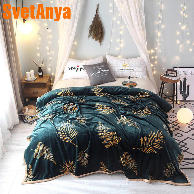 Svetanya Leaves Print Blanket warm Plaid Winter Sheet (flat Coin Thickness) twin full double queen king size