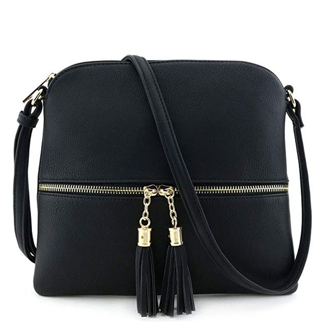 Sleeper #401 2018 Women Leather Tassel Crossbody Bag Pure Color Shoulder Bags Messenger Bag Pure Color Casual Hot Free Shipping