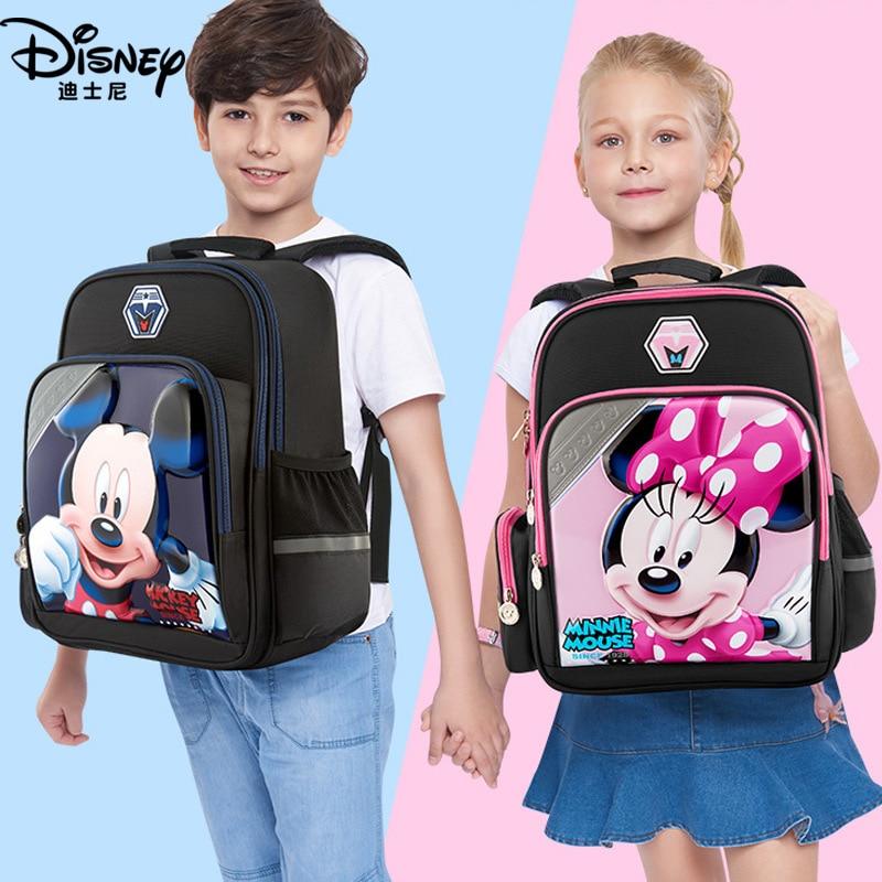 Disney Cartoon Student Bags Mickey Waterproof School Book Backpack Kids Boy Girl New Upgraded Reflective Large Capacity Bag Gift