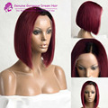 Полный шнурок ombre парики человеческих волос боб короткие ombre два тона парик glueless ombre # 1b99j бордовый девственные человеческих волос с челкой CA11