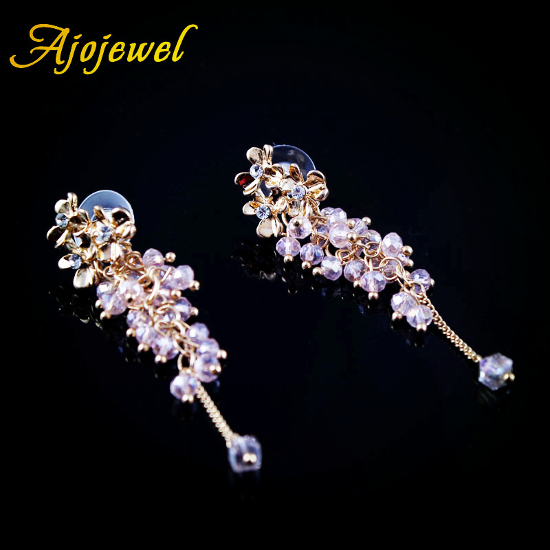 Ajojewel Trendy Indah Kristal Beaded Tassel Drop Earrings Bunga Anting Panjang Wanita Perhiasan Grosir Warna Campuran