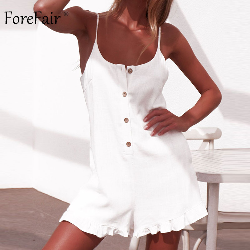Forefair Sexy jumpsuit Shorts White Ruffles (14)