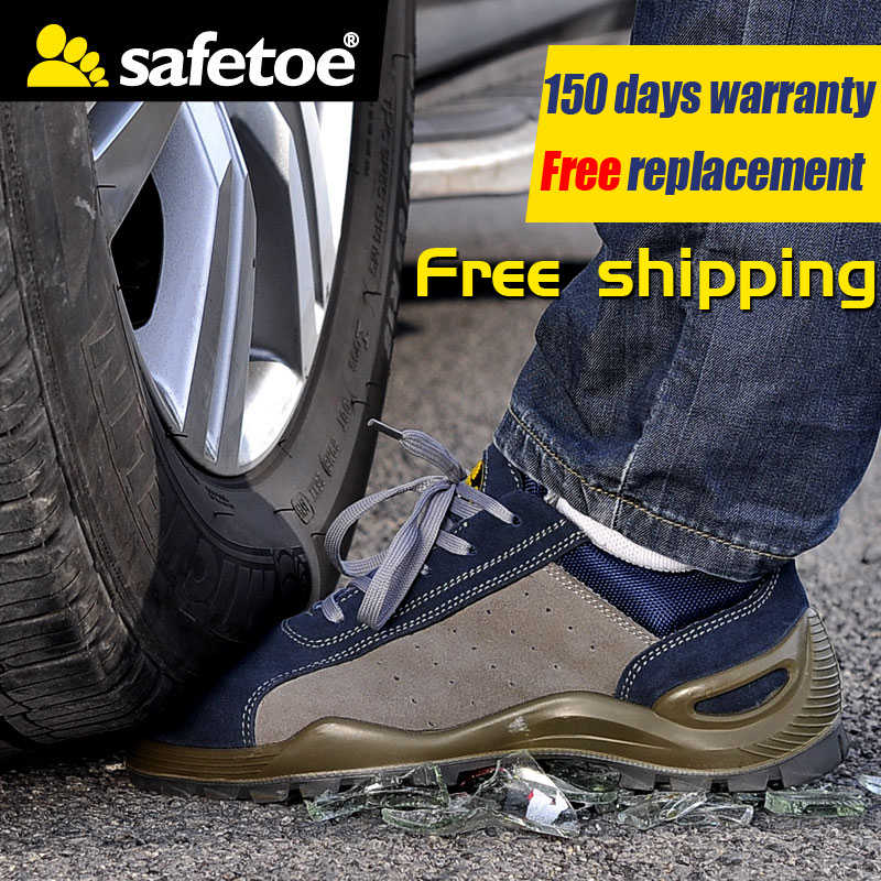 safetoe Work Shoes Breathable Air Mesh Steel Toe Anti-static Anti-nail High Quality Cow Leather blue and white canvas anti static shoes esd clean shoes pharmaceutical shoes work shoes add cotton