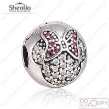 Claro pavimenta Circón Rojo Minnie Auténticos 925 Sterling Silver Beads Clip Para Shealia Pulseras Minnie Encanta La Joyería Diy
