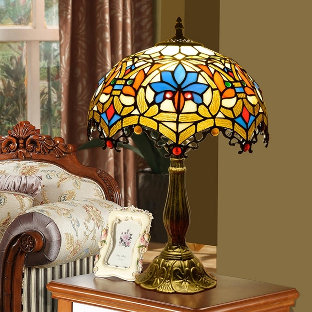 12inch European Baroque Vintage Tiffany Stained Glass Table Lamp Living  Room Bedroom Restaurant Club KTV Bar
