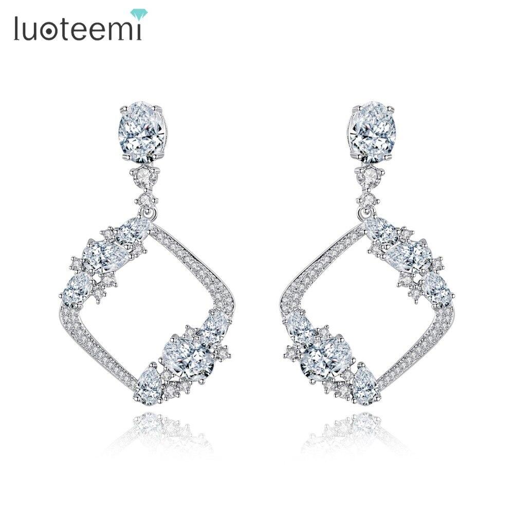LUOTEEMI Exquisit carré boucles d'oreilles goutte pour les femmes fête de mariage de luxe CZ mode femme bijoux Boucle D'Oreille cadeaux de noël