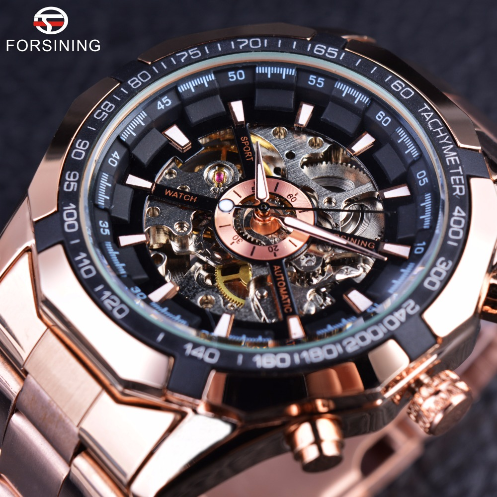 Forsining Rose Golden Fashion Designer Transparent Case Men Watch Top Brand Luxury Mechanical Automatic Skeleton Watch Clock Men forsining date month display rose golden case mens watches top brand luxury automatic watch clock men casual fashion clock watch