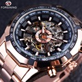 Forsining Rose Golden Fashion Designer Transparent Case Men Watch Top Brand Luxury Mechanical Automatic Skeleton Watch Clock Men