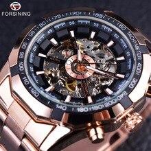 Forsining Rosa de Oro Caja Transparente Reloj de Los Hombres Del Diseñador de Moda de Primeras Marcas de Lujo Mecánico Automático Esquelético Del Reloj Del Reloj de Los Hombres
