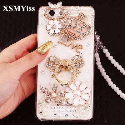 XSMYiss Luxury Rhinestone Diamond Ring Stands Crown Soft Case Cover for Xiaomi Redmi 4 4X 4A 5A 5 5Plus Note 3 4 4X 5A