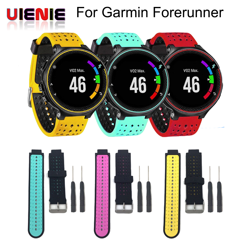 UIENIE Two colors 2 in1 Watchband Soft Silicone Replacement Wrist Band bracelet strap For Garmin Forerunner 220/230/235/620/630