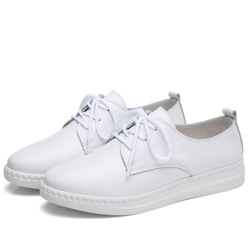 MIUBU 2019 Autumn Loafers Shoes Woman Genuine Leather Round Toe Lace up Female Flat Shoes For Women Moccasins Slipony in Women 39 s Flats from Shoes