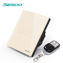 SESOO EU/UK remote control switch 170-240v 3 Gang 1 wall lamp switch crystal steel glass panel Golden(China)