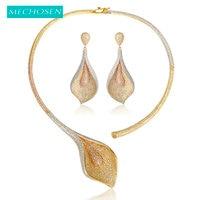 MECHOSEN Flower Shape 3 Tones Women Jewelry Sets Bridal Romantic Wedding Necklace Earring Sets banquet party lima peru femme