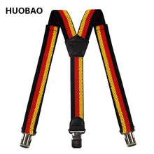 2017 New Men Adjustable 3.5cm Wide Germany Flag Black Red Yellow Striped Heavy Duty Y-Back Suspenders For Mens