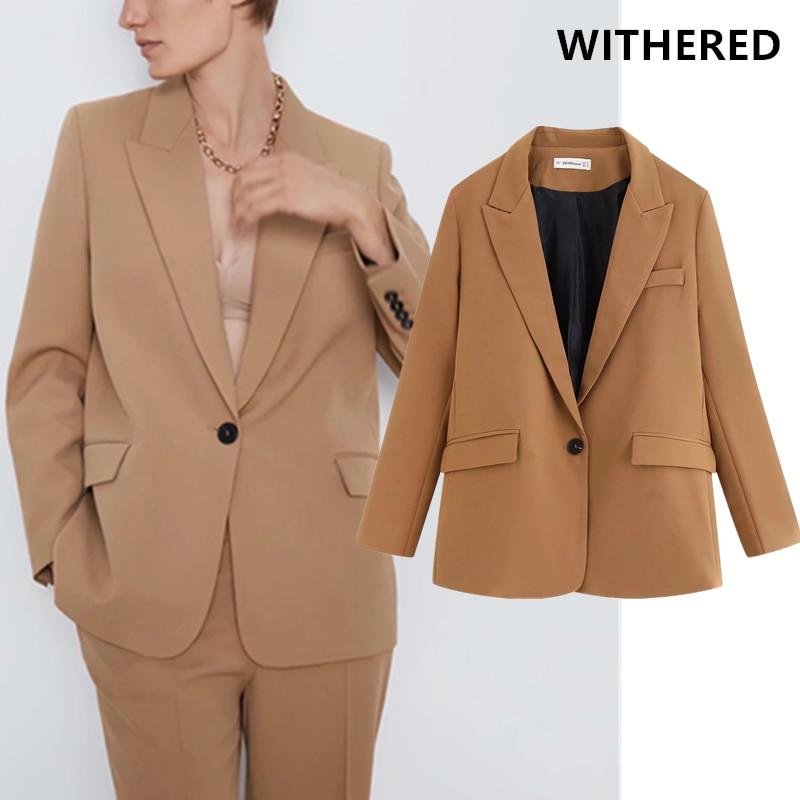 Withered England Vintage Oversize Single Button Blazer Feminino Blazer Mujer 2019 Women Blazers Jackets Suits Pants 2 Pieces Set