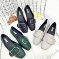 2017 New England Casual Lady Black Green Gray Color Patent Leather Square Toe Flat Shoes Brief Spring Gloss Women Flat Shoes
