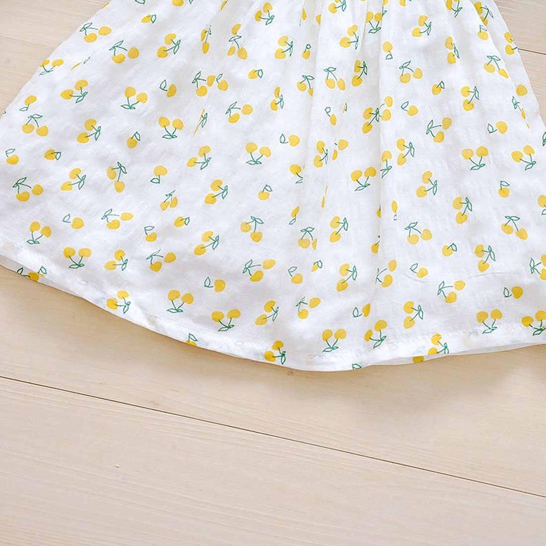 Платье для маленьких девочек Новая летняя детская одежда платье с принтом фруктов для девочек платье принцессы для маленьких девочек