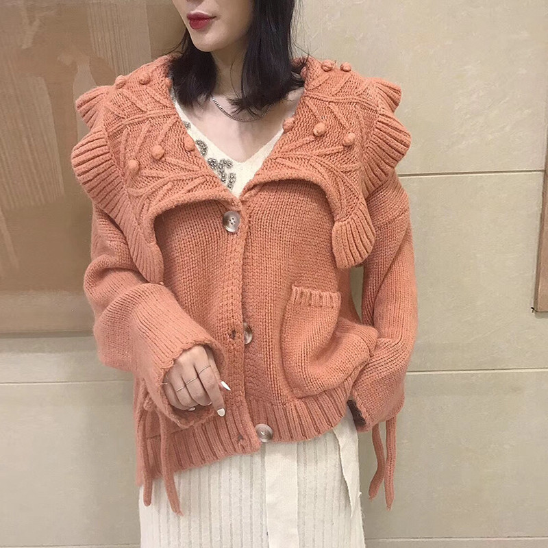 Women Sweater 2018 Autumn Ruffled Collar Wool Sweaters Long Sleeve Loose Casual Jumpers Single Breasted Sweet Knitted Cardigans