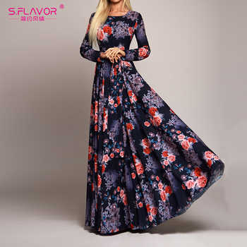 S.FLAVOR Elegant Women Robe Long Sleeve Printed Dress Fashion Autumn Winter Sexy Boho Dress Slim Long Party Dress Vestidos - Category 🛒 Women\'s Clothing