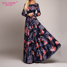 S.FLAVOR Elegant Women Robe Long Sleeve Printing Dress Autumn Fashion Sexy Boho Dress Slim Long Party Dress Women Vestidos De
