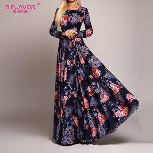 Image 1 - S.FLAVOR Elegant Women Robe Long Sleeve Printing Dress Autumn Fashion Sexy Boho Dress Slim Long Party Dress Women Vestidos De