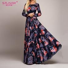 S. sabor elegante mulher robe manga comprida impressão vestido outono moda sexy boho vestido magro longo vestido de festa