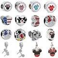 Frete grátis 1 pc prata presente de natal mickey e minnie big hole bead hanging charme fit estilo pandora charm bracelet mix013