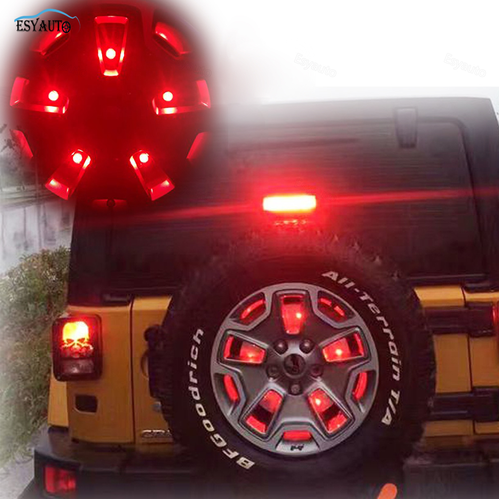 Spare Tire Light Third Brake LED Lamps Red Warning 3rd Tail Lights for Jeep Wrangler 1986-2017 Jeep Accessories