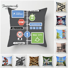Fuwatacchi New 2019 Road Sign Cushion Cover Signpost Guide Printed Pillows for Chair Sofa Home Decorative Pillowcase 45*45