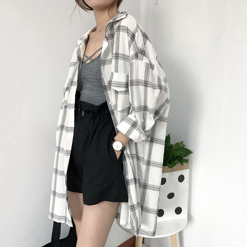 Women New Shirts Casual Plaid All-match Loose Long Sleeve Students Daily BF Ulzzang Single Breasted Womens Korean Style Harajuku