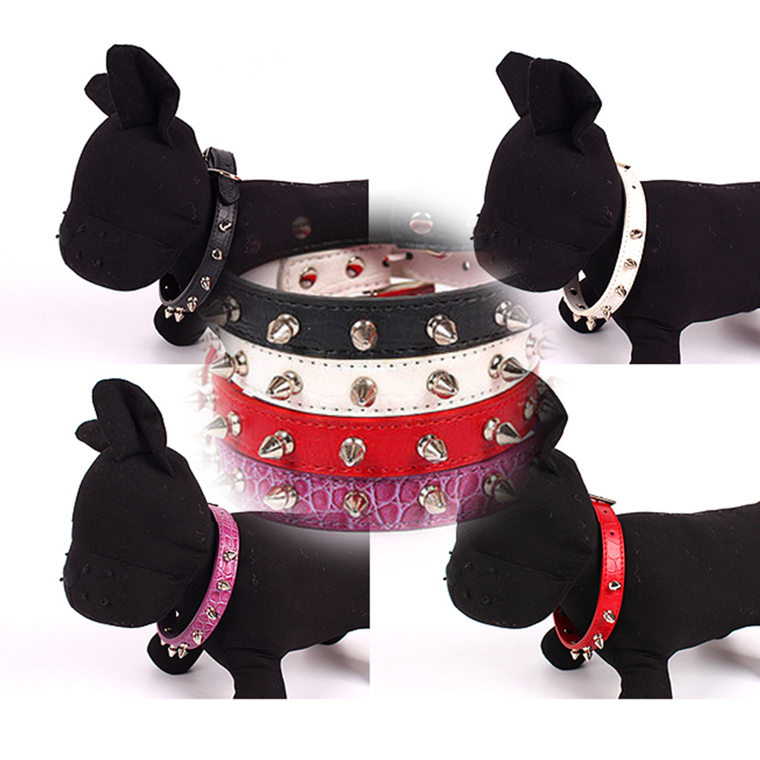 High sale Pet Puppy Dog Collars Adjustable PU Leather Punk Rivet Spiked Studded Pet Collar Neck Straps