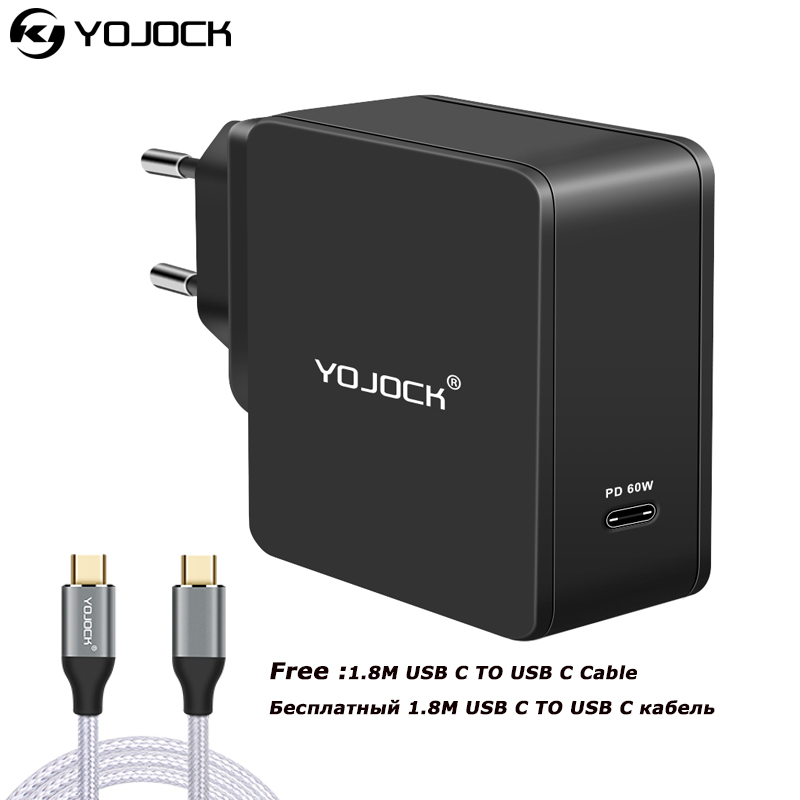YOJOCK 60W USB Type C Wall Charger Power Adapter with Power Delivery for Apple MacBook/iPhone XS XR /Xiaomi USB C PD Charger-in Mobile Phone Chargers from Cellphones & Telecommunications    1