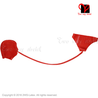Red Sexy Latex Briefs With Hoods Long Tube without eyes open pants Masks Rubber underwear short Gummi Underpants bottoms KZ 036
