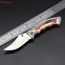 Factory Direct Supply Super Folding Knife 5CR13MOV Blade Drawing Light Surface EDC Pocket Tool Steel with Wood Handle GF023#