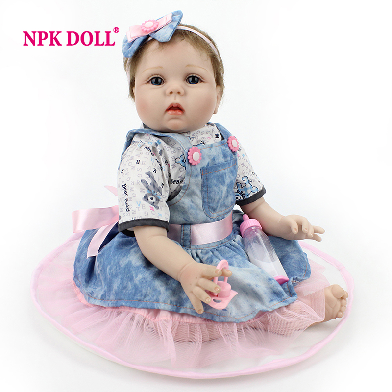 New Style 22 Inch Silicone Baby Dolls Realistic Doll Reborn Gift For Children Play House Toys With DressNew Style 22 Inch Silicone Baby Dolls Realistic Doll Reborn Gift For Children Play House Toys With Dress