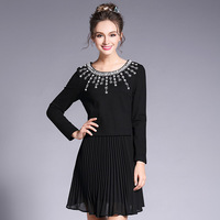 Women Beaded Splice 2 In 1 Pleated Chiffon Dress Embellished Day Dresses Plus Size L To