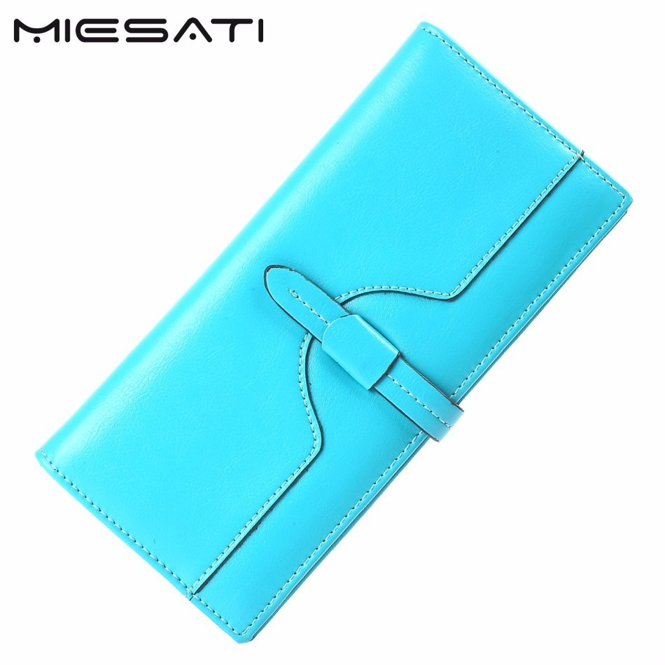 MIESATI Send Free Gift! Women Wallet First Layer Natural Oil Wax Leather Genuine Leather Purse card coin Money Holder Brand New