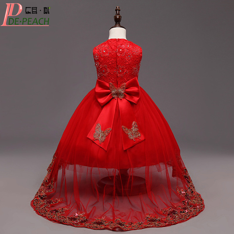 Red Bow Girls Tailing Wedding Dresses Beaded Flower Christmas Princess tutu Dress Ball Gown Children Clothing Baby Girl Dress summer 2017 new girl dress baby princess dresses flower girls dresses for party and wedding kids children clothing 4 6 8 10 year