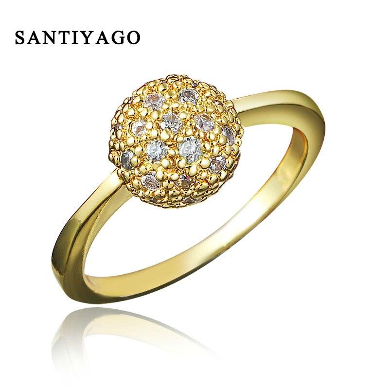 SANTIYAGO Fashion Women Gold Plating Finger Ring ladies Luxury Fashion Jewelry Metal Ring Engagement Wedding Ring Wholesale