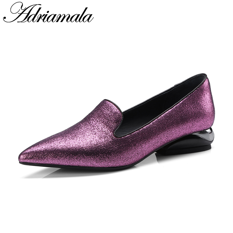 2018 Pointed Toe Low Heels Women Casual Pumps Shoes Brand Designer Spring Summer Slip-on Fashion Thick Heels Shoes Adriamala meotina women shoes pumps pointed toe thick heels spring ladies low heels slip on casual shoes 2018 white red large size 9 42 43