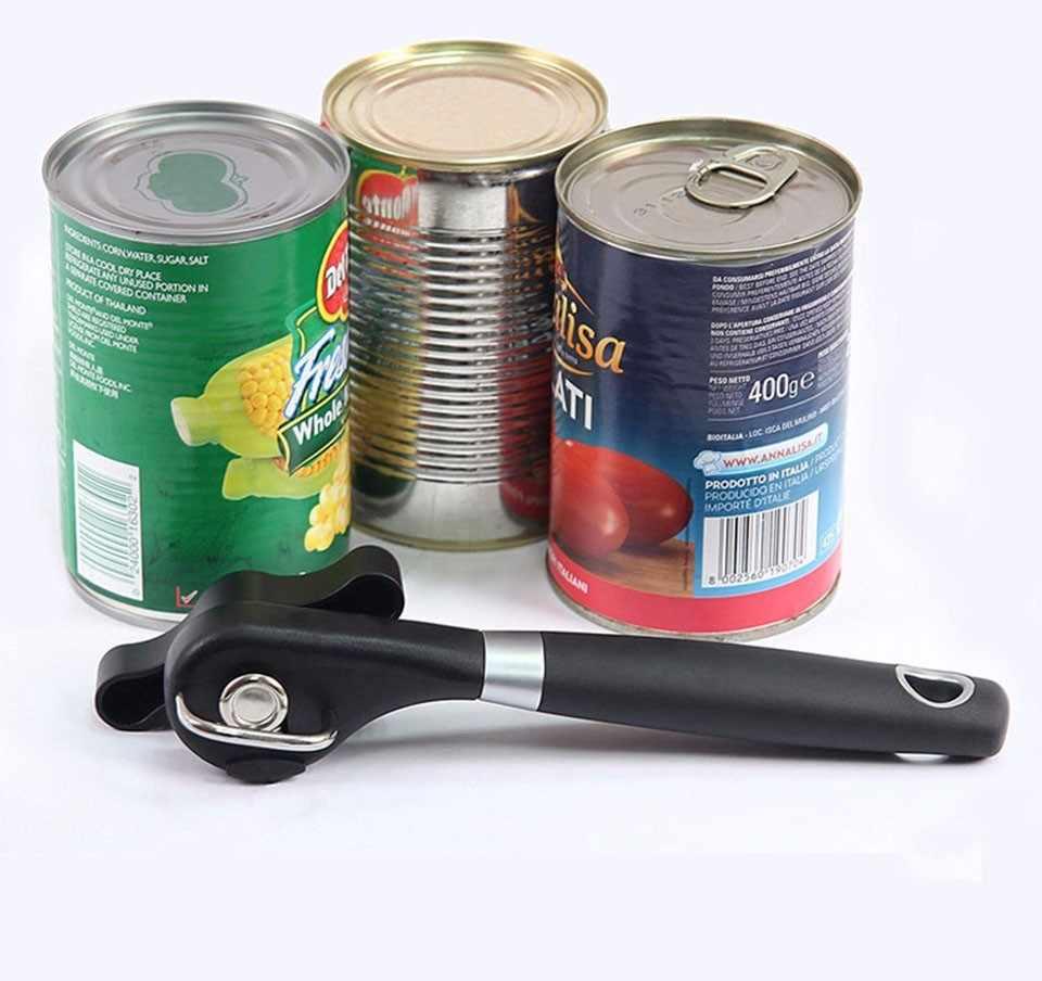 1 шт., пластиковый Профессиональный кухонный инструмент, безопасный ручной консервный нож с боковым вырезом, удобный захват, ручной нож для открывания банок, крышка