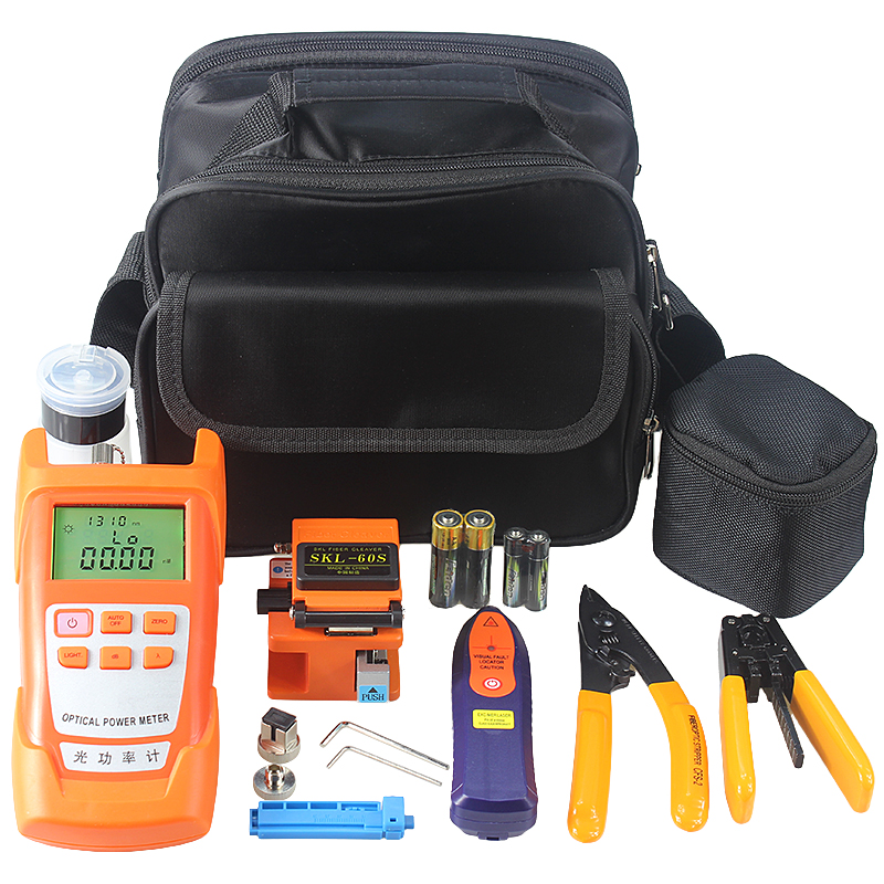 9 In 1 Fiber Optic FTTH Tools Kit With Fiber Cleaver And Optical Power Meter 5km Visual Fault Locator Wire Stripper