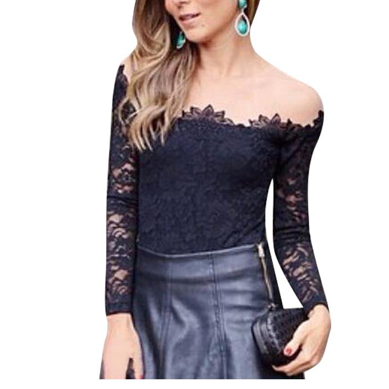 Sexy XL Black Embroidery Crochet Lace Crop Top Strapless Long Sleeve Hot Sale Hot sale W910007