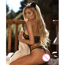 Black Lace Perspective Teddy Lingerie Cosplay Cat Uniform