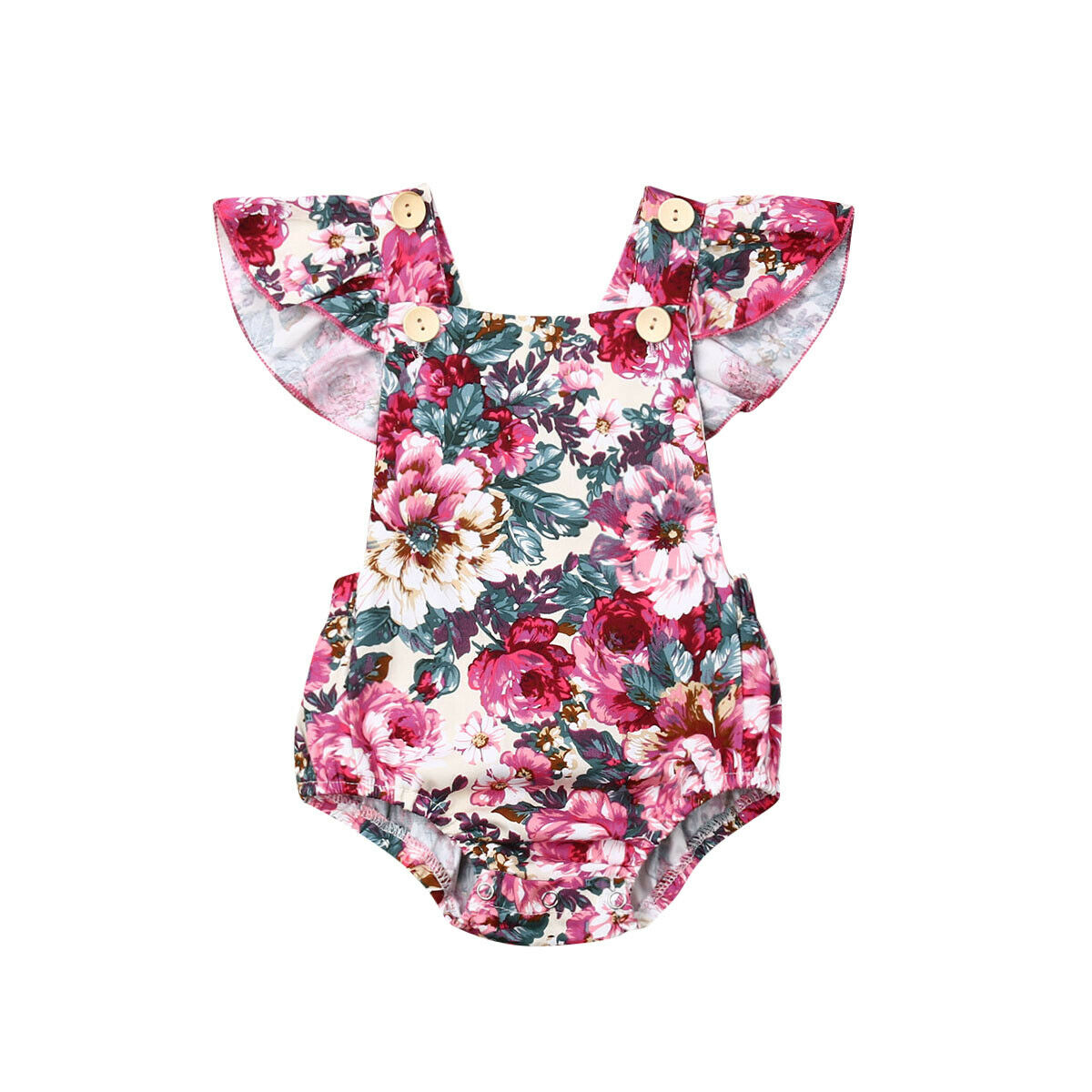Newborn Infant Kid Baby Girl Bodysuit Ruffles Short Sleeve Flowers Print Jumpsuit Outfit Sunsuit Clothes(China)